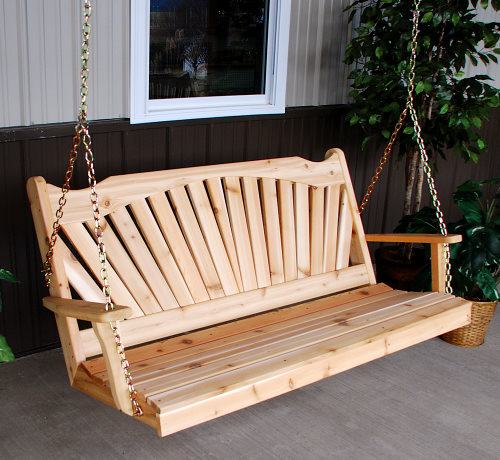 A & L Western Red Cedar Fanback Porch Swing Pertaining To Porch Swings (#2 of 20)