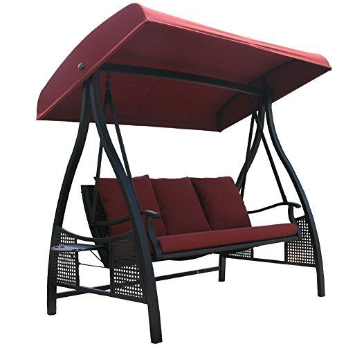Abba Patio 3 Person Outdoor Metal Gazebo Padded Porch Swing For 2 Person Adjustable Tilt Canopy Patio Loveseat Porch Swings (View 17 of 20)