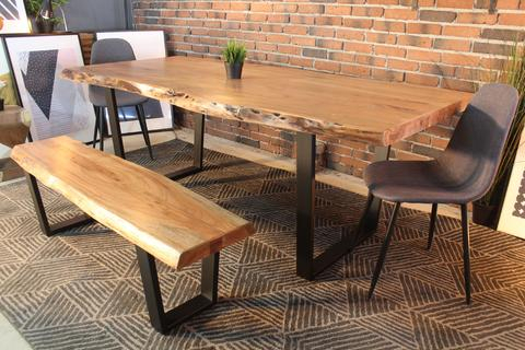 Acacia Dining Table Pertaining To Fashionable Dining Tables With Black U Legs (View 2 of 20)