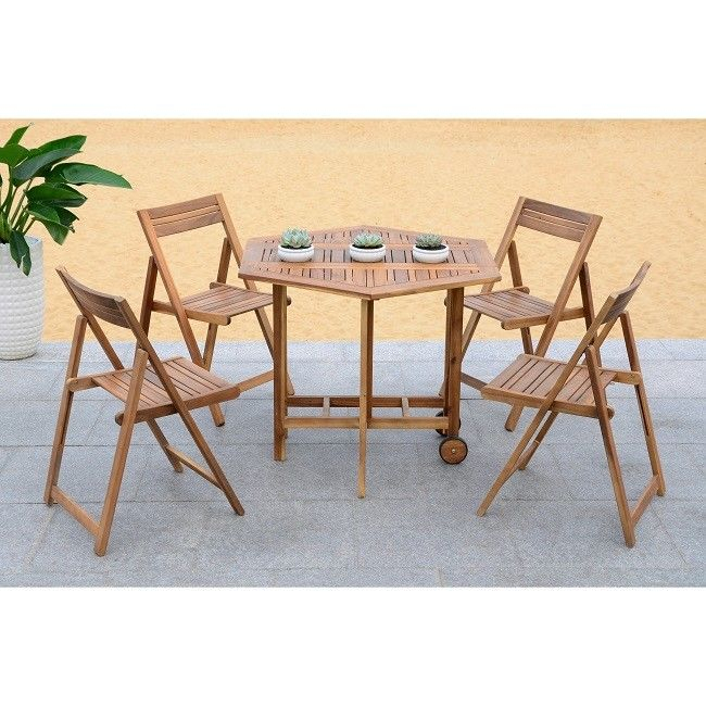 Acacia Dining Tables With Black Legs For Newest Outdoor Dining Table 5 Piece Set Acacia Wood Patio Furniture Brown Chair  Modern (View 16 of 20)