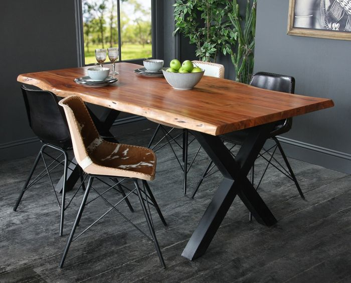 Acacia Dining Tables With Black Legs Inside Preferred Acacia Dining Table With Natural Edge And Black Metal Cross Leg Base (View 2 of 20)