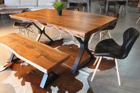 Acacia Dining Tables With Black Legs Intended For Famous Acacia Live Edge Dining Table With Black X Shaped Legs (View 1 of 20)