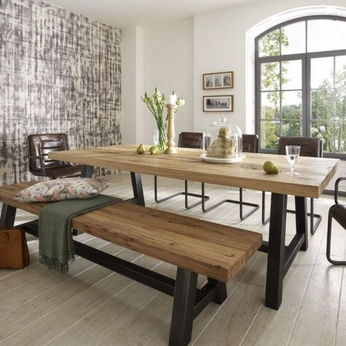Acacia Dining Tables With Black Rocket Legs For Well Liked Distressed Wood Table & Bench. Metal Legs (View 18 of 20)