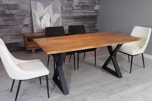 Acacia Dining Tables With Black Victor Legs With Regard To Preferred Corcoran Acacia Live Edge Dining Table With Black X Legs (View 5 of 20)