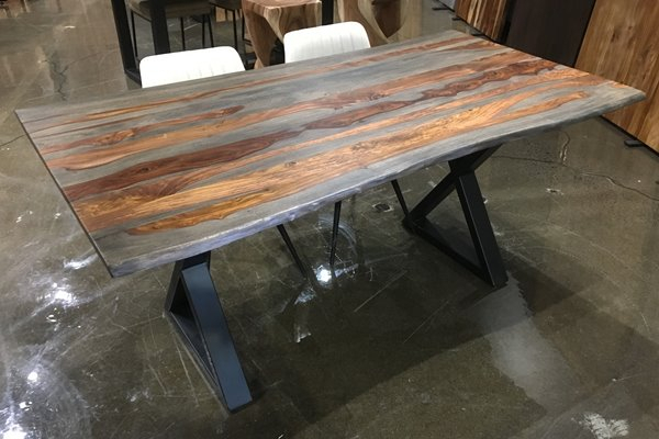 Acacia Dining Tables With Black X Leg With Regard To Most Popular Corcoran Grey Sheesham Live Edge Dining Table With Black X (View 20 of 20)