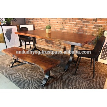 Acacia Wood Live Edge Straight Cut Dining Table – Buy Solid Acacia Wood  Straight Cut Dining Table Top With Black Y Shaped Metal Legs/live Edge Throughout Best And Newest Acacia Wood Top Dining Tables With Iron Legs On Raw Metal (#2 of 20)