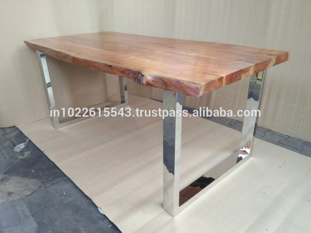 Acacia Wood Top Dining Tables With Iron Legs On Raw Metal For Most Recently Released Industrial Acacia Wood Live Edge Dining Table With Stainless Steel Legs –  Buy Live Edge Wood Slab Tables,stainless Steel Dining Table With Glass,live (#3 of 20)