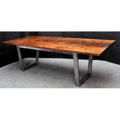 Popular Photo of Acacia Wood Top Dining Tables With Iron Legs On Raw Metal