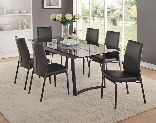 Acme 73155 57 7 Pc Osias Black Metal And Smoky Rectangular Glass Top Dining  Table Set Throughout Fashionable Rectangular Glass Top Dining Tables (#5 of 20)