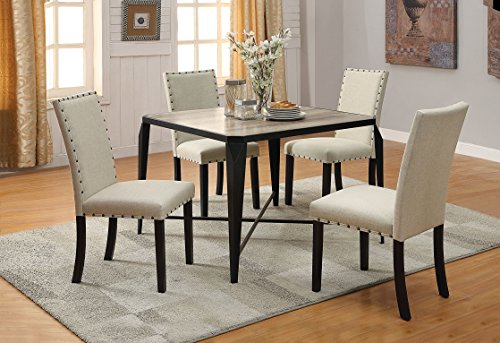 Acme Oldlake Dining Table, Antique Light Oak & Black, Antique Light Oak & Black, 1, Transitional/industrial Regarding Preferred Transitional Antique Walnut Square Casual Dining Tables (View 15 of 20)