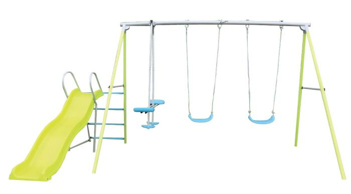 Airwave Double Swing, Glider & Slide Playset For Dual Rider Glider Swings With Soft Touch Rope (#1 of 20)