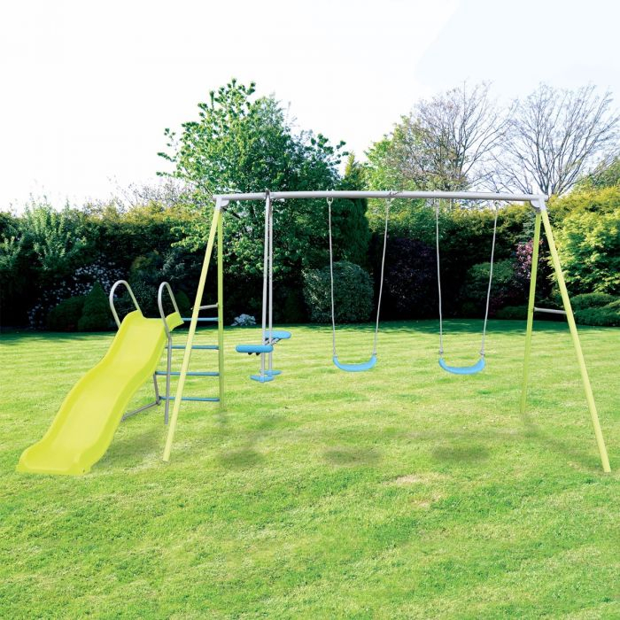 Airwave Double Swing, Glider & Slide Playset Pertaining To Dual Rider Glider Swings With Soft Touch Rope (#2 of 20)