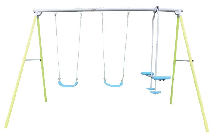 Airwave Kids Double Swing And Glider Playset Pertaining To Dual Rider Glider Swings With Soft Touch Rope (#4 of 20)