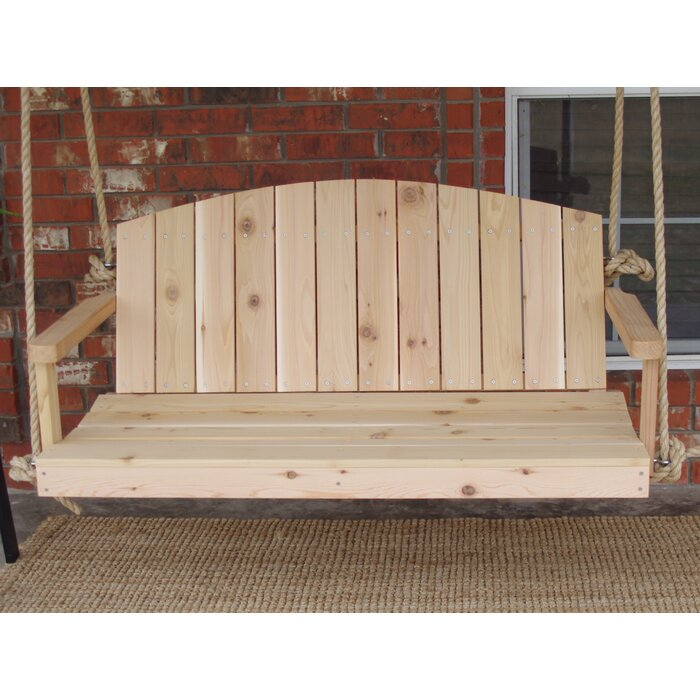 Alaina Cedar Rope Porch Swing In 2 Person Natural Cedar Wood Outdoor Swings (View 11 of 20)