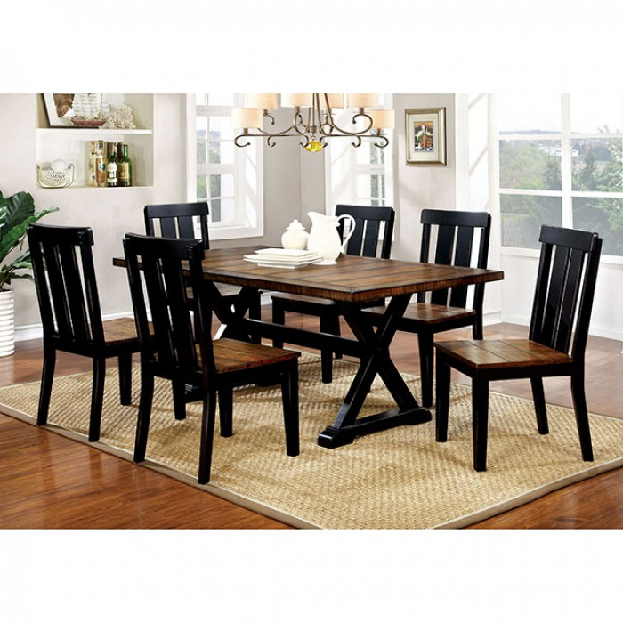 Alana Transitional Antique Oak Black Dining Set With Widely Used Transitional Rectangular Dining Tables (#1 of 20)