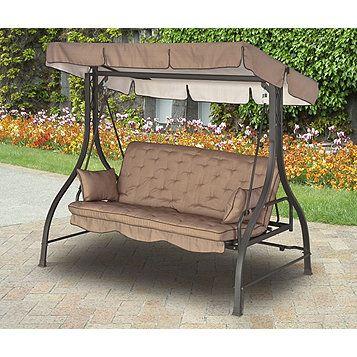 Alcove 3 Seat Hammock Cushion Swing – Brown | Pergola Garden Pertaining To 3 Seat Pergola Swings (View 3 of 20)