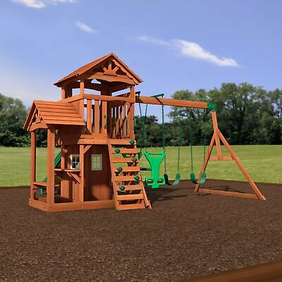 All Cedar Wood Playset Playground Play House Slide Swing Set Rock Climbing Wall | Ebay With 2 Person Natural Cedar Wood Outdoor Swings (View 18 of 20)