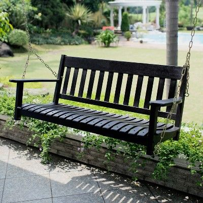 Alston Porch Swing – Black – Cambridge Casual | Porch Swing For Casualthames White Wood Porch Swings (View 3 of 20)