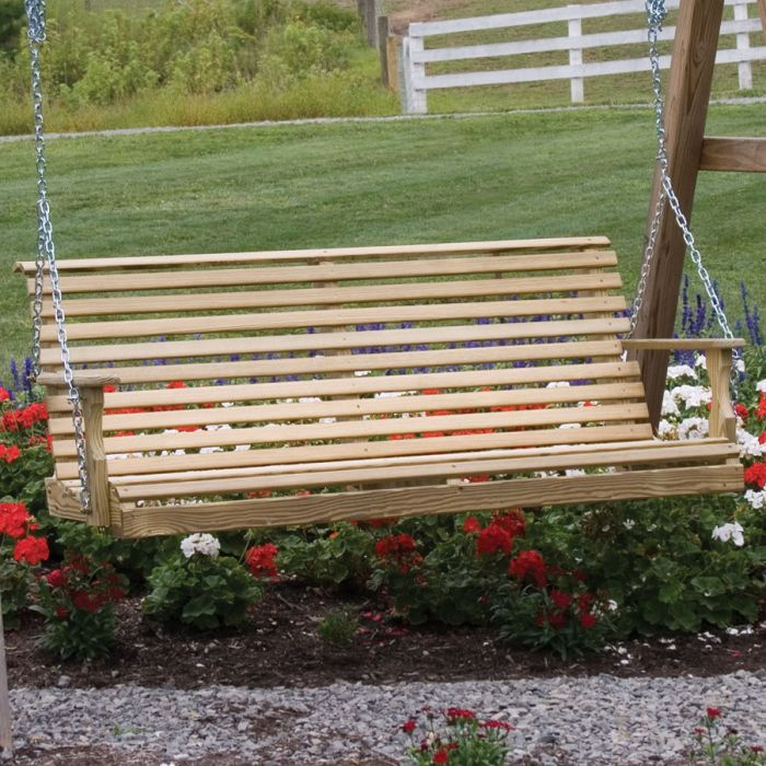 Amish 5' Treated Pine Rollback Plain Porch Swing Regarding Plain Porch Swings (View 8 of 20)