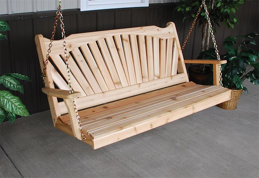 Amish Cedar Wood Fanback Swing Pertaining To 2 Person Natural Cedar Wood Outdoor Swings (View 6 of 20)