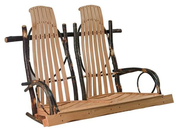 Amish Hickory Rocker Style Porch Swing Inside 2 Person Natural Cedar Wood Outdoor Swings (#9 of 20)