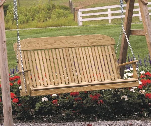 Amish Rustic Hickory Porch Swing With Walnut Finish With Classic Porch Swings (View 17 of 20)