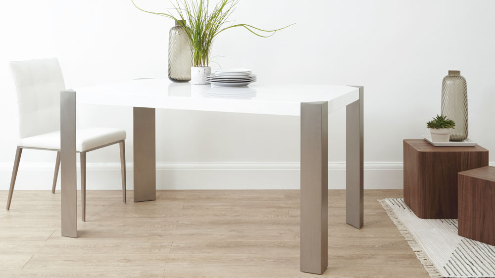 Angola 4 Seater White Gloss Dining Table Intended For Most Current Contemporary 6 Seating Rectangular Dining Tables (#4 of 20)