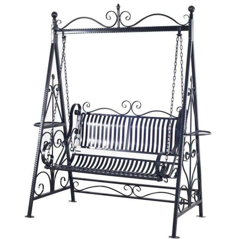 Aos Patio Lido 2 Person Metal Garden Swing Set | Porch Swing Inside 2 Person Black Steel Outdoor Swings (#5 of 20)