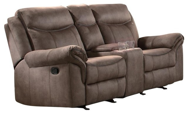 Apollo Double Glider Reclining Love Seat With Console Brown Airehyde Within Double Glider Loveseats (#1 of 20)