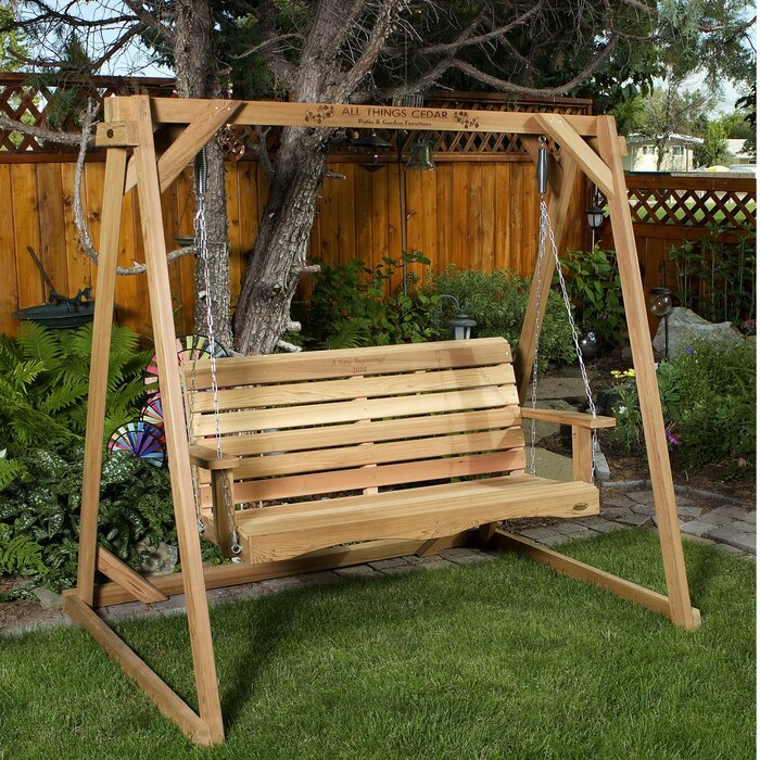 Ardoin Porch Swing With Stand In 2 Person Natural Cedar Wood Outdoor Swings (View 8 of 20)