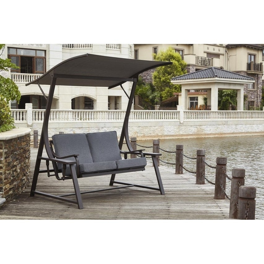 Aria 2 Seat Glider Porch Swing With Stand In Porch Swings With Stand (#1 of 20)