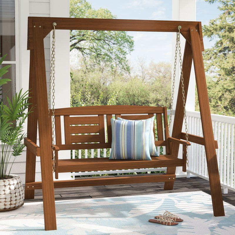 Arianna Hardwood Hanging Porch Swing With Stand | Porch Inside 2 Person Light Teak Oil Wood Outdoor Swings (View 5 of 20)