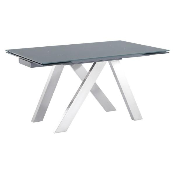 Armen Living Imara Brushed Stainless Steel And Grey Tempered For Recent Modern Glass Top Extension Dining Tables In Stainless (#2 of 20)