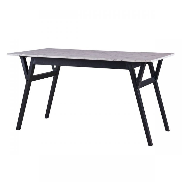 Ashton Rectangular Dining Table  Faux Marble And Black Throughout Famous Rectangular Dining Tables (#3 of 20)