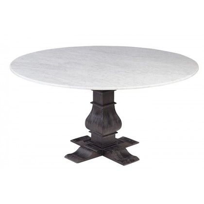 Popular Photo of Thick White Marble Slab Dining Tables With Weathered Grey Finish