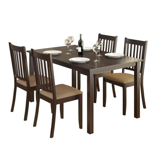 Atwood Transitional Rectangular Dining Tables For Current Corliving Atwood 5 Piece Dining Set With Beige Microfiber (#5 of 20)