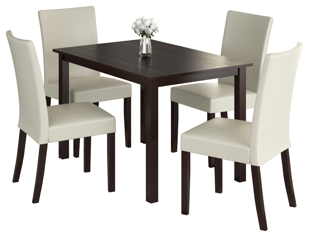 Atwood Transitional Rectangular Dining Tables Inside Well Known Corliving Atwood 5 Piece Dining Set With Cream Leatherette Seats (#6 of 20)