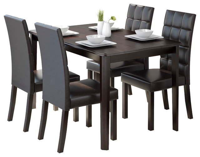 Atwood Transitional Rectangular Dining Tables Regarding 2019 Corliving Atwood 5 Piece Dining Set With Dark Brown Leatherette Seats (#9 of 20)