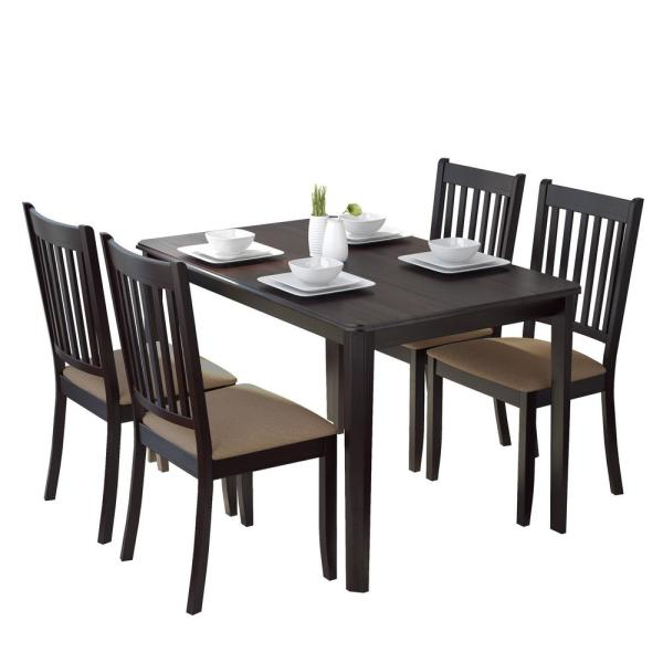 Atwood Transitional Rectangular Dining Tables With Regard To Best And Newest Corliving Atwood 5 Piece Dining Set With Beige Microfiber (#12 of 20)