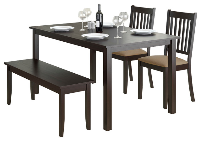 Atwood Transitional Rectangular Dining Tables Within Most Recent Corliving Atwood 4 Piece Dining Set With Cappuccino Stained Bench And Chairs (#13 of 20)