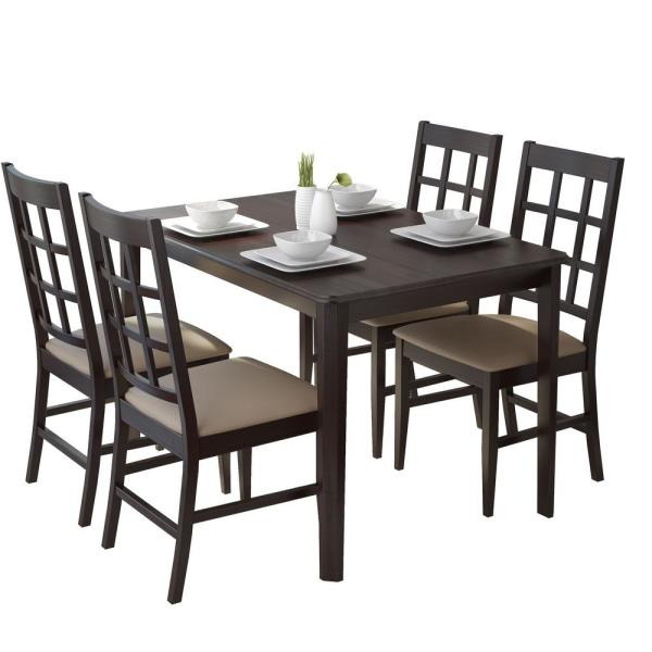 Atwood Transitional Square Dining Tables For Most Current Corliving Atwood 5 Piece Dining Set With Taupe Stone (View 16 of 21)