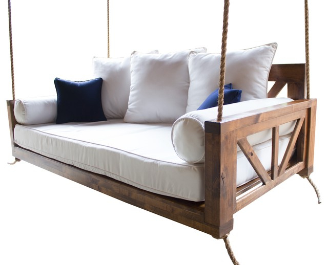 Avery Wood Porch Swing Bed, Charred Ember Finish, Crib Mattress Size Throughout Porch Swings (#5 of 20)