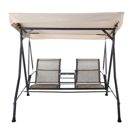 Backyard Creations® 2 Person Patio Swing With Table At Menards® Regarding 2 Person Gray Steel Outdoor Swings (#6 of 20)