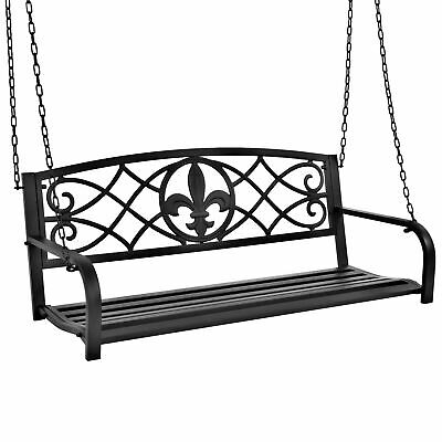 Bcp Outdoor Metal Hanging 2 Person Swing Bench W/ Fleur De Lis Accents  816586028327 | Ebay Regarding 2 Person Black Steel Outdoor Swings (#7 of 20)