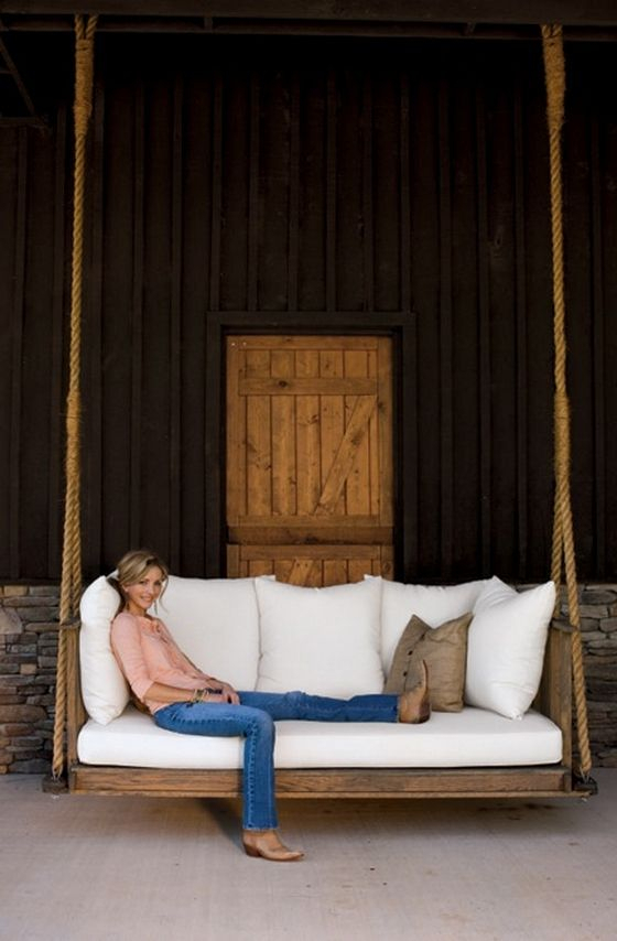 Beautiful Hanging Porch Beds | Porch Swing, Outdoor Living For Country Style Hanging Daybed Swings (View 12 of 20)