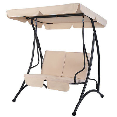 Beige 2 Person Canopy Swing Chair Patio Hammock Seat With 2 Person Outdoor Convertible Canopy Swing Gliders With Removable Cushions Beige (View 13 of 20)