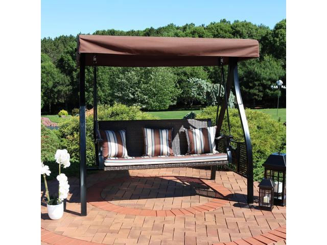 Beige Cushions Patio Seating Porch Swings Sunnydaze Deluxe 3 Regarding Canopy Patio Porch Swing With Stand (View 8 of 20)