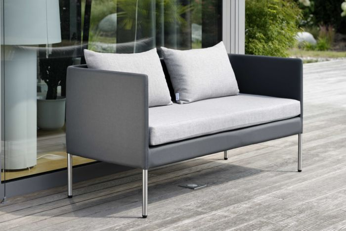 Bench 2 Seater Miguel Aluminum With Cover Textilen Anthracite & Cushion Colour Grey Mixed With Regard To Aluminum Glider Benches With Cushion (View 17 of 20)
