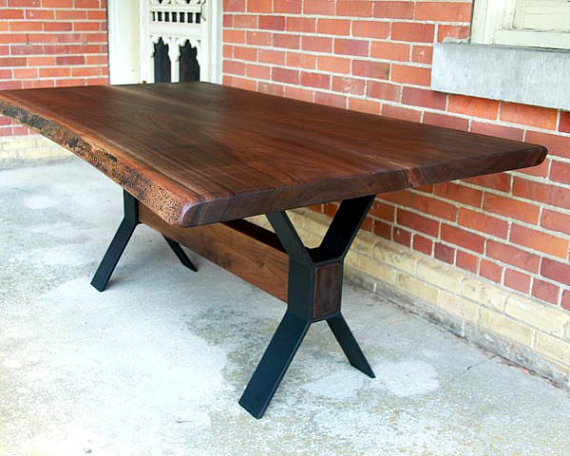 Best And Newest Acacia Dining Tables With Black Victor Legs With Live Edge Black Walnut Dining Table Custom Steel Legs Modern (View 7 of 20)