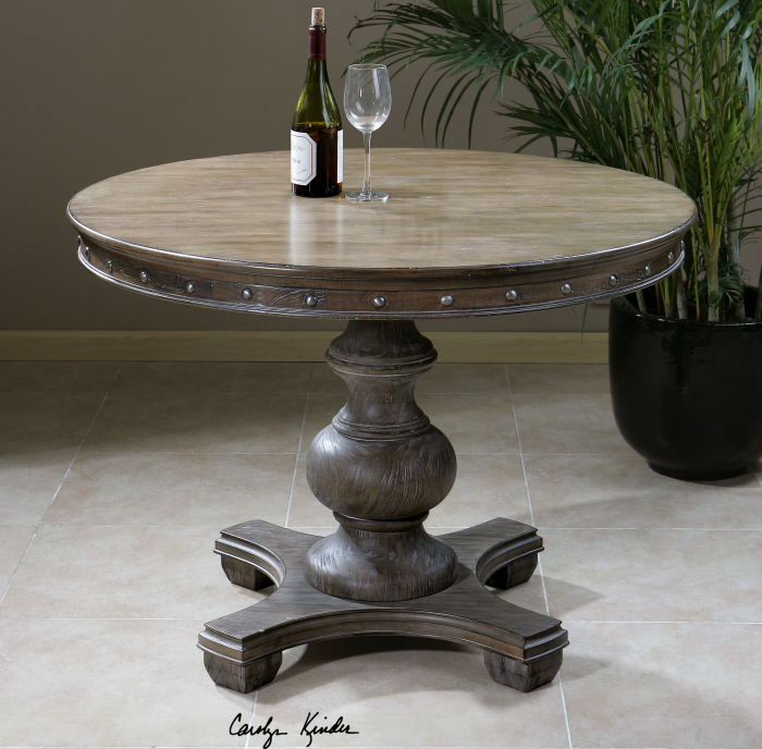 "Best And Newest Details About Round Weathered Wood Pedestal Entry Dining Table 42"" French  Country Farmhouse Intended For Country Dining Tables With Weathered Pine Finish (#3 of 20)"